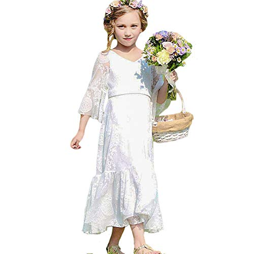 CQDY White Flower Girl Lace Dress Long Sleeves Children Baptism Dress First Communion Dress for 2-13T (10-11T) -