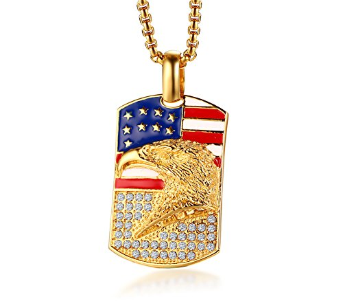 (MP Stainless Steel Gold Plated America Flag 3D Eagle Hawk Rhinestone Dog Tag Pendant Necklace for Men)