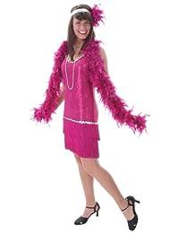 Fun Costumes womens Plus Sequin & Fringe Fuchsia Flapper