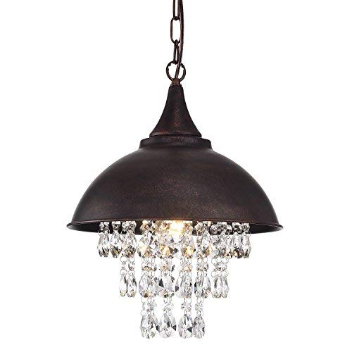 Edvivi 1-Light Antique Copper Dome Pendant Chandelier with Crystals | Modern Farmhouse ()