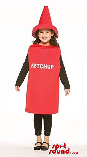 Very Cute Red Ketchup Bottle Children Size Costume
