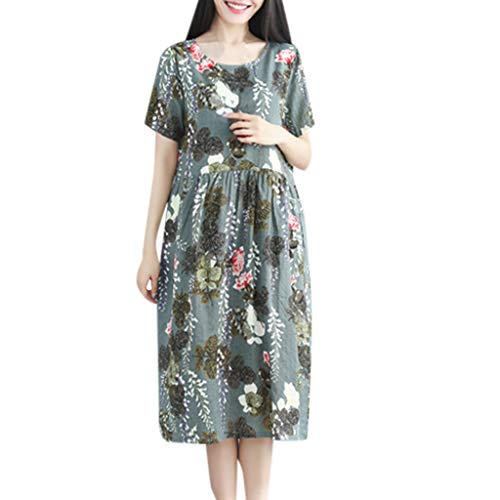 (Vintage Summer Casual Cute Women Short Sleeve Knee Length Loose Hem Dress Green)