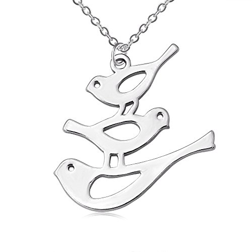BEICHUANG Animal Gold Plated Dove Bird Necklace Adjustable Pendant Jewelry (Silver)