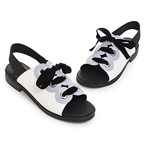 Blue Lace 48 Sandals Up TAOFFEN Women's Shoes OvPna