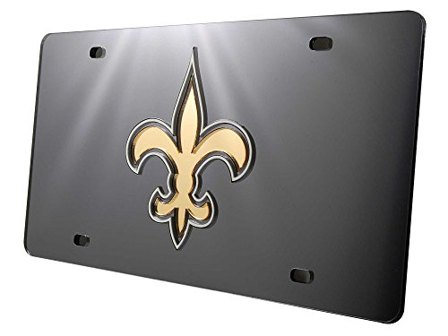 Rico New Orleans Saints Deluxe Mirrored Laser Cut License Plate