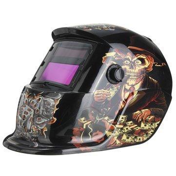 Dice Skeleton Solar Auto Darkening Welding Grinding Helmet Welder Mask - Electrical Welding Tools Helmet Mask & Goggles - 1 x Glass Cutter