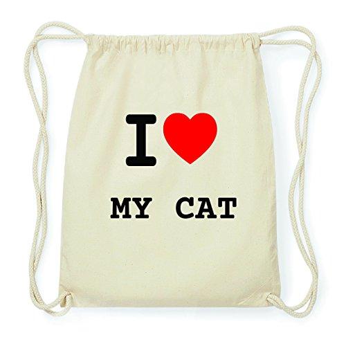 JOllify MY CAT Hipster Turnbeutel Tasche Rucksack aus Baumwolle - Farbe: natur Design: I love- Ich liebe