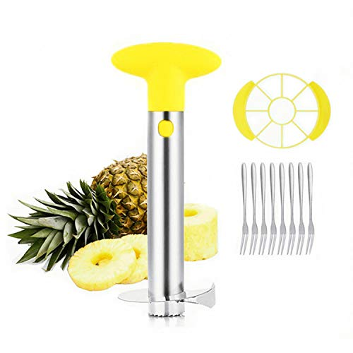 Pineapple Corer Cutter Slicer Peeler, GIPTIME Stainless Steel Pineapple Tools, Easy To Use and Clean, Dishwasher Safe, 8 Fruit Forks As Bonus, Yellow