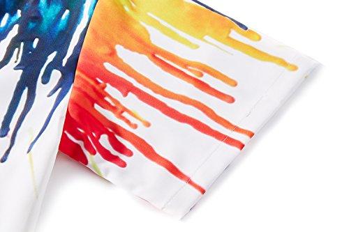 Estilo Playa Paint Corta Tuonroad Manga Relajada Color Informal Vacaciones xl Hawaiano Para Estampado De Y Botones s 3d Camisa Con E HYI6nH
