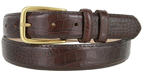 Andrew Genuine Italian Calfskin Leather Dress Belt for Men(Alligator Wine, (Alligator Skin Belt)