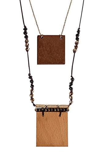 SPUNKYsoul Large 2 Piece Wood & Gold Layered Square Pendant Statement Necklace Jewelry Set for Women Collection ()