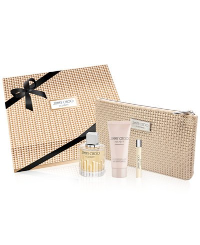 Jĭmmy Chōō Illicĭt Perfumė for Women 4 Piece GIFT SET Includes: 3.3 fl oz Eau de Parfum + 3.3 fl. oz Body Lotion + 0.25 Eau de Parfum Spray + Pouch by Jĭmmy Chōō