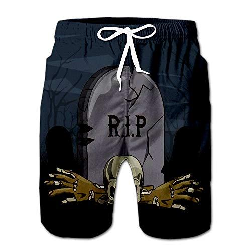 Halloween Scary Scenery Cartoons at Night Design Men Swimwear Volley Pants Pocket XXL]()