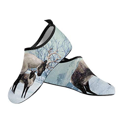 - INTERESTPRINT Winter Reindeer Fawn Women's Water Sports Shoes Barefoot Quick-Dry Aqua Yoga Socks Slip-on US6~US7