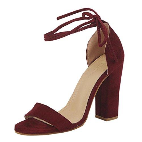 Sangle Orteils Vin Hauts Talons Tongs Singel Rouge Chaussures Sandales Ouvert Basket Occasionnels Strass Femmes Partie Sandales Beautyjourney qYZ08Op