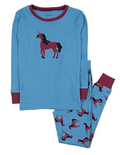 Leveret Kids Pajamas Boys Girls 2 Piece pjs Set 100% Cotton (Unicorn, Size 8 Years) -