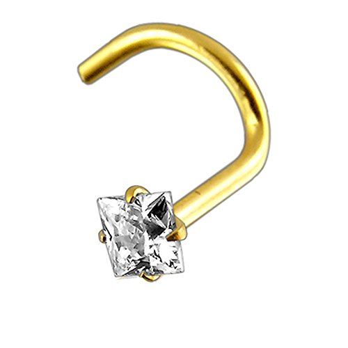 - 9K Solid Yellow Gold with 1.5MM Square Gem Nose Body jewelry