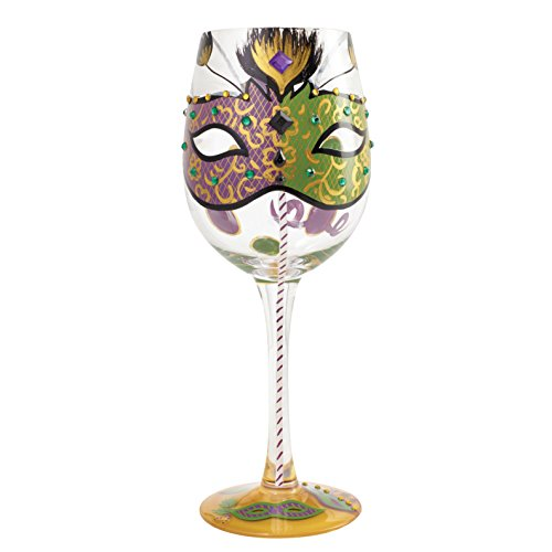 Lolita by Enesco Mardi Gras Wine Glass (Mardi Gras Wine Glasses)