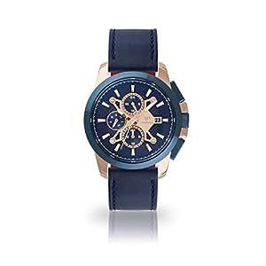 DETOMASO Catania DT1085-D-905 - Reloj de Pulsera multifunción para Hombre, analógico, Cuarzo, Correa de Piel Azul, Esfera Azul: Amazon.es: Relojes