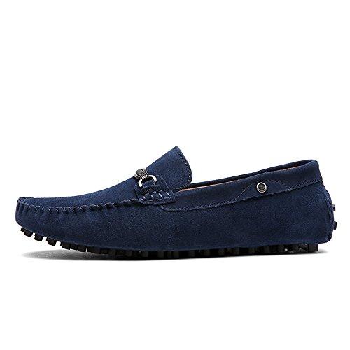 Baymate Hombres Moda Mocasines Zapatos Casuales Antideslizante Zapatos de Conducción Azul