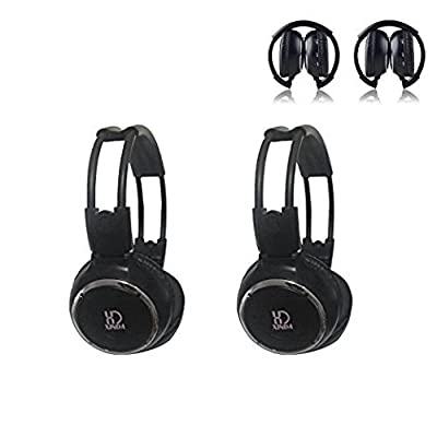 Car Headphone,XINDA 2 Packs Double Channel Wireless Infrared Car Headset Foldable Vechile IR Headphones for in-Car TV DVD Video: Home Audio & Theater