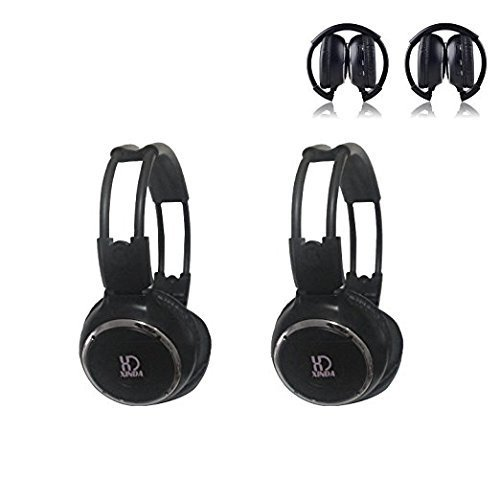 Car Headphone,XINDA 2 Packs Double Channel Wireless Infrared Car Headset Foldable Vechile IR Headphones for in-Car TV DVD Video