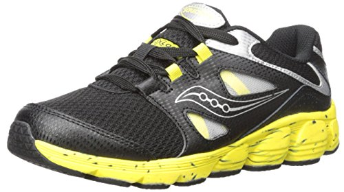 Black Yellow Sneakers (Saucony Kotaro 4 Sneaker (Little Kid/Big Kid), Black/Yellow,5 Wide US Big Kid)