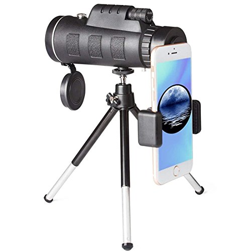 LEOSO Monocular Telescopes 40x60 BAK4 Prism Spotting Monocular Scopes with Tripod and Phone Clip Low Night for Bird Watching Hunting Camping Sport Games and Concerts by LEOSO