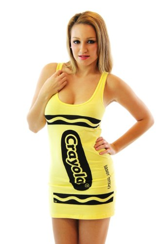 [Crayola Crayon Laser Lemon Yellow Juniors Costume Tunic Tank Dress (Juniors Small)] (Yellow Tank Dress Costumes)