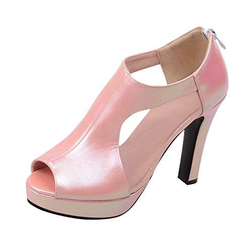 Carolbar Kvinna Peep Toe Voile Mesh Plattform Klänning Mode Datum Hög Klack Boots Rosa