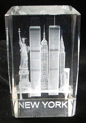 - New York Souvenir NYC Skyline 3D Clear Crystal Laser Etched Glass Paperweight with Statue of Liberty Empire State Building World Trade Center Large Size 3