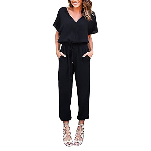 WEUIE Women Deep V Neck Drawstring Waisted Long Pant One Piece Jumpsuit Formal Rompers Playsuit Trousers Black ()
