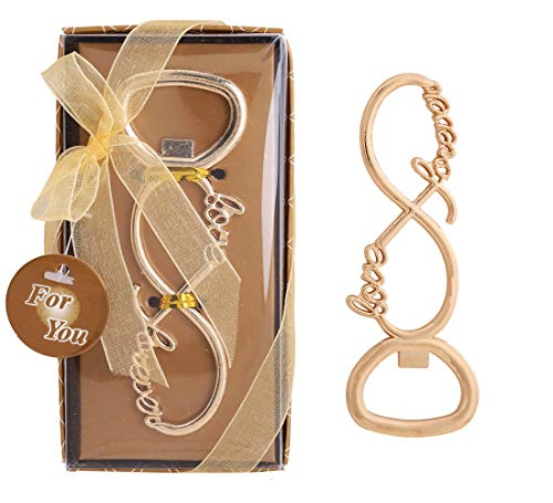 Wedding Favor for Guests,WeddParty 36pcs Love Forever Beer Bottle Opener with Tag and Exquisite Packaging for Bride Baby Shower,Birthday Gift & Party Decorations Supplies (Infinite love 36pcs Gold)