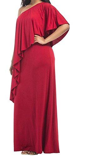 La Mode Une Robe Maxi Partie De Base Irrégulière Épaule Le Rouge Des Femmes Domple