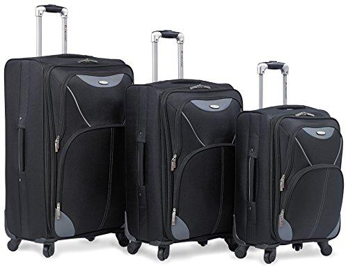 Dejuno Series 3 Piece World Spinner Luggage Black Bags