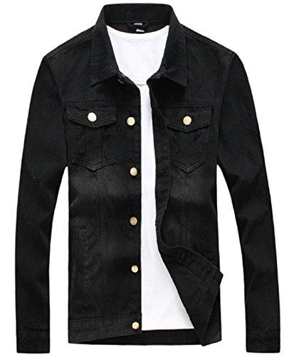 Olrek Men's Casual Wear Cotton Denim Jacket(Black,L Size) by Olrek