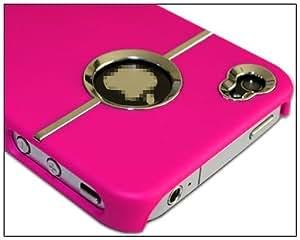 BONAMART® Apple Deluxe Carcasa rígida w/cromo para iPhone 44G 4S Verizon AT & T Peach