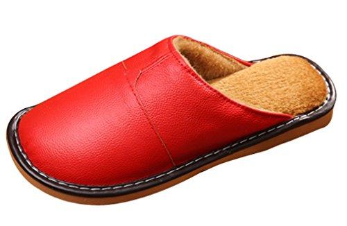 Cattior Dames Effen Bont Gevoerde Warme Zachte Pantoffels Lederen Slippers Rood