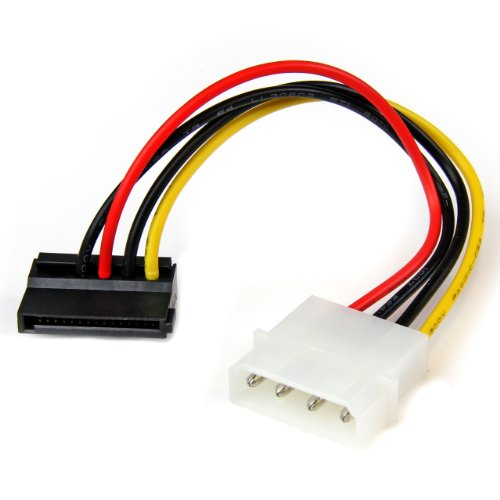 6in 4 Pin Molex to Left Angle SATA Power Cable Adapter - LP4 Molex to SATA Power Adapter