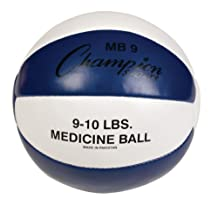 Champion Sports Leather Medicine Ball (Blue/White, 9-10-Pound)