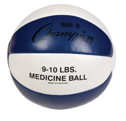 Champion Sports Leather Medicine Ball (Blue/White, 9-10 lbs)
