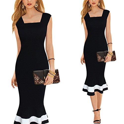 Santfe Womens Sleeveless Long Dress Classic Black Fishtail Skirt Dresses ( S )
