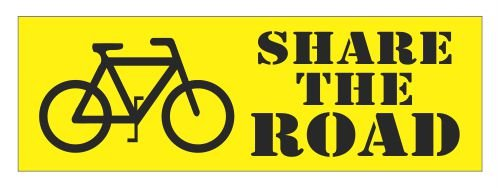 Share The Road Bicycle Bike Vinyl Bumper Sticker Decal