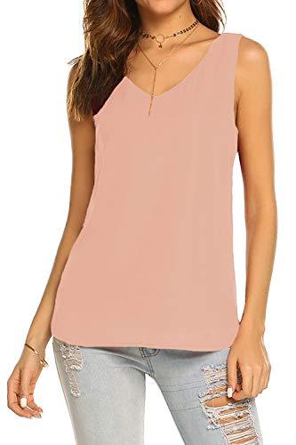BLUETIME Women Casual V Neck Chiffon Sleeveless Cami Tank Tunic Top Sexy Summer Blouses (XL, Blush Pink)