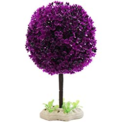 uxcell Fuchsia Plastic Tree Fishbowl Aquarium Underwater Landscape Decoration w Stand