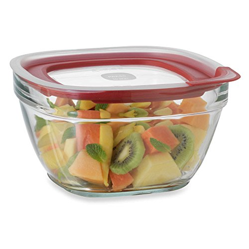 Rubbermaid 11.5 Cup Square Glass Food Storage Containers with Easy-Find Lid