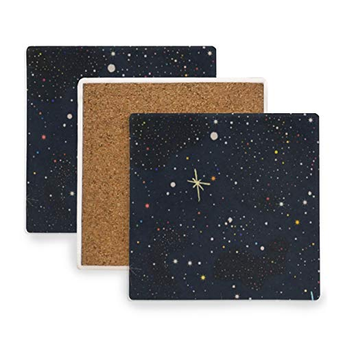 Stars Moon Sun Galaxy Space Universe Nebula Coasters, Protect Your Furniture from Stains,Coffee, Wood Coasters Funny Housewarming Gift,Square Cup Mat Pad for Home, Kitchen or Bar Set of 4 -