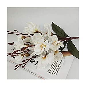 45cm Silk Artificial Magnolia Flower Wedding Decoration for Home Party Hotel Table Accessories Gladiolus Plant,White 108