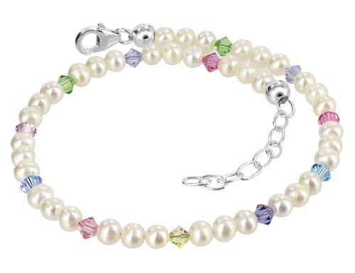 Gem Avenue Sterling Silver Swarovski Elements White Freshwater Pearl with Multicolor Crystal Ankle Bracelet 9 to 10 inch (Pure White Swarovski Pearls)