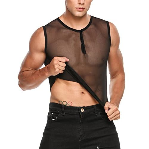 5c04e29197475 Coofandy Mens Sexy See Through Sleeveless T-Shirt Mesh Fishnet Clubwear  Tank Top Undershirts low